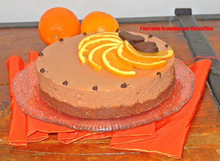 Torta+fredda+yogurt+cioccolato+e+arancia