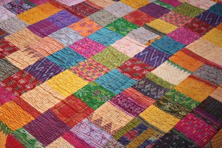 Patola Silk Tagesdecke vintage Sari Bettüberwurf Kantha bestickte Indien Decke   eBay
