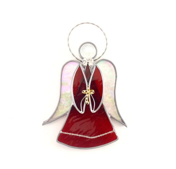 Red Stained Glass Angel with Iridescent Wings by Nostalgianmore, $39.95