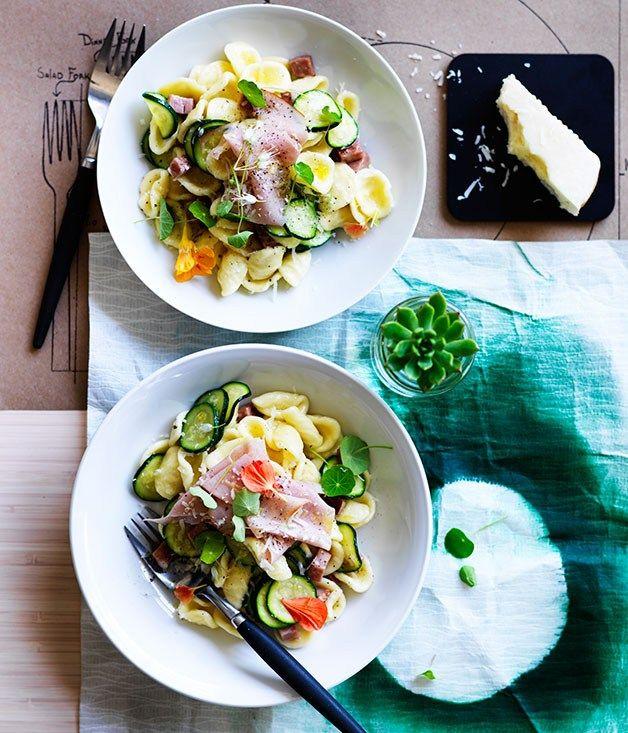 Zucchini and mortadella orecchiette with pecorino recipe | Momofuku recipe - Gourmet Traveller