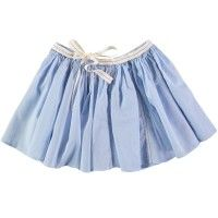 MAAN Raven Skirt in Sky. Paneled skirt with ribbon waistband from LITTLECIRCLE Spring Summer 2016 Girls Collection. Shop now: littlecircle.co.uk