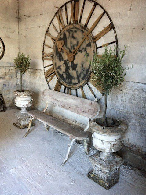 Love the weathered look and whitewashed boards decking, not sure I want to be reminded what time it is at                                                             the beach though (the clock IS cool                               though)