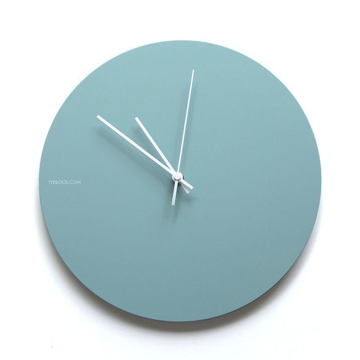 Solid Turquoise wall clock - matt powder coated steel finish.