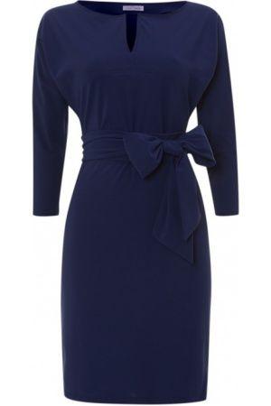 Casual jurken - LaDress Donkerblauwe vlinderjurk Lauren met ceintuur