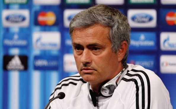 Manager Jose Mourinho talks to the media prior to the UEFA Super Cup match between Bayern Muenchen and Chelsea FC at Stadion Eden on August 29, 2013 in Prague, Czech Republic