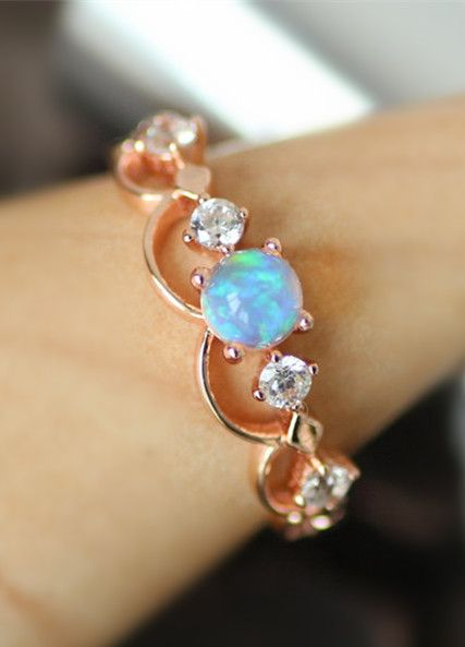 popular rose gold simple art deco opal promise ring