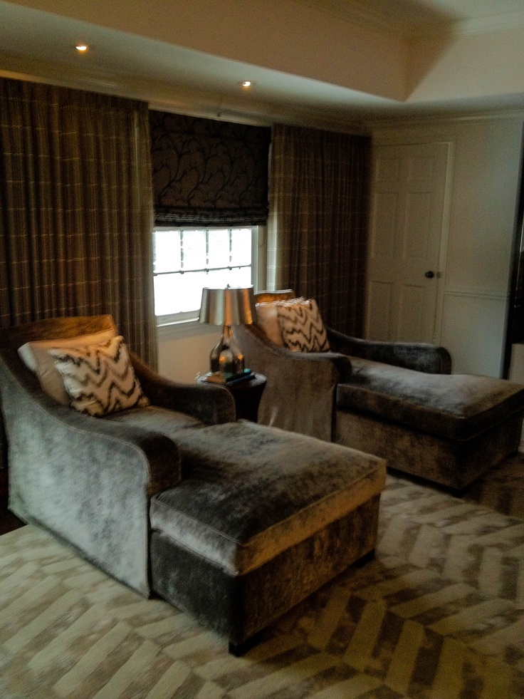 Custom Chaise Lounges In A Master Bedroom Sitting Area Covered In Silk  Velvet, On Top Of An All Silk Custom Rug Made Just For This Space, All  Create A Very ...