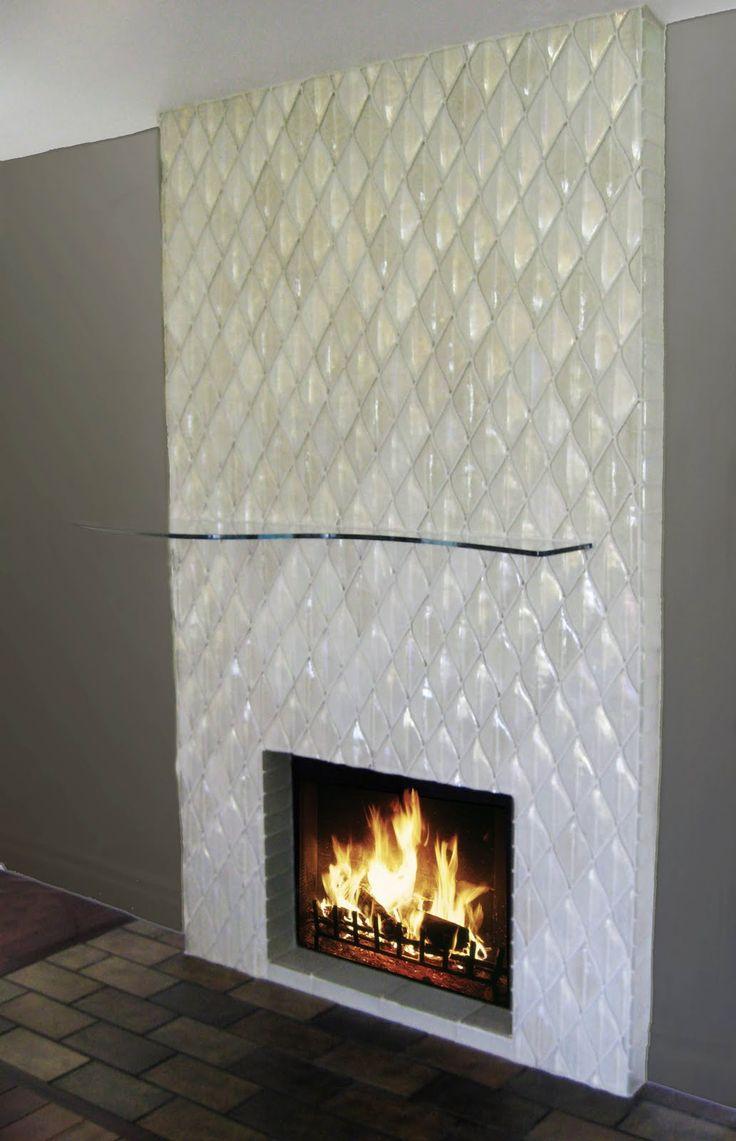 beautiful tile: Alpentile: Contemporary Glass Tile Fireplace Installation