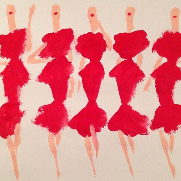 Donald Robertson -- USA -- 2015 -- An impressionistic illustration, portraying only the basic features of the figure and garment, however, in a striking and vibrant manner. Rough texture of paint strokes create the solid fills of red and flesh colours. Simply styled with red lipstick to complete the bold aesthetic. Illustration seems unfinished and quickly composed.