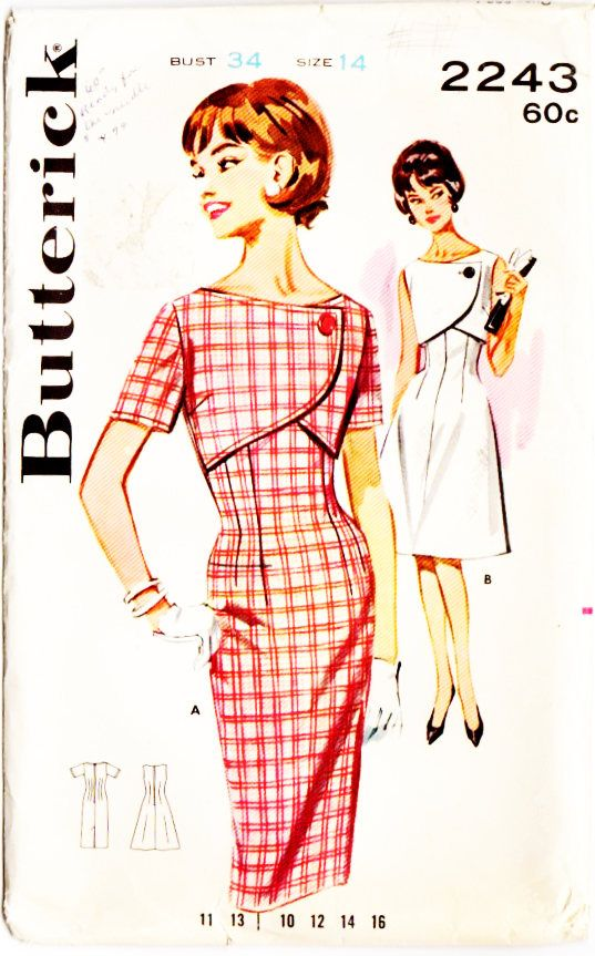 Butterick 2243 Misses Vintage 1960s Bolero Front Dress with Slim or Flared Skirt Sewing Pattern by DRCRosePatterns on Etsy