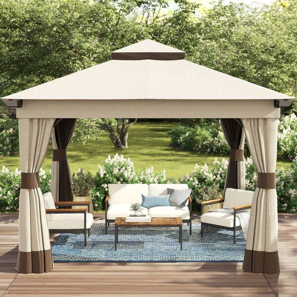 Rosemary 12 Ft W X 12 Ft D Metal Patio Gazebo In 2020 Patio Gazebo Patio Gazebo Roof