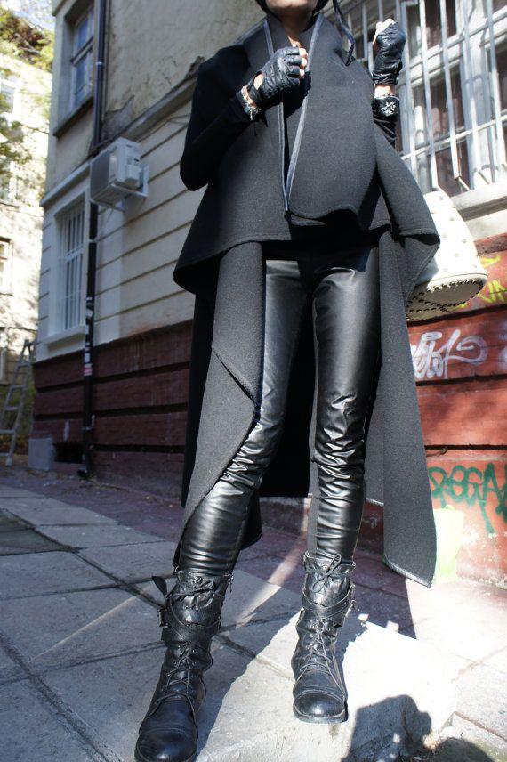 Black Cashmere Sleeveless Coat / Beautiful Loose Top / by Aakasha, $95.00