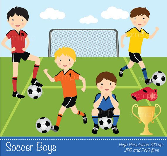 Digital Clipart  Soccer Boys for Scrapbooking by YelloWhaleDesigns