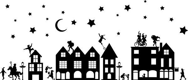 Afbeeldingsresultaat voor silhouet huisjes kerst
