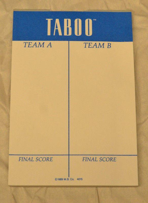 Milton Bradley Taboo Board Game ScorePad Replacement 1989 #MiltonBradley