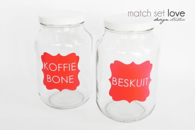 BIG Customised Vinyl Labels for Glass Jars by Match Set Love on hellopretty.co.za