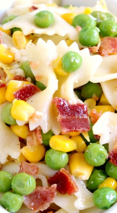 Easy Bacon Pea Pasta Salad ~ The perfect pasta salad for a crowd that everyone will love! | easy summer recipe