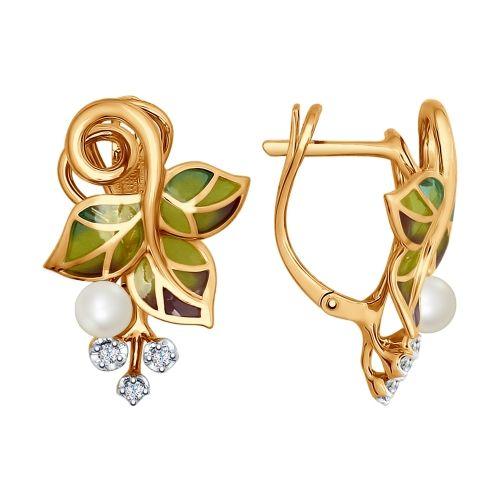 Серьги из золота с эмалью с бриллиантами и жемчугом арт. 6029005