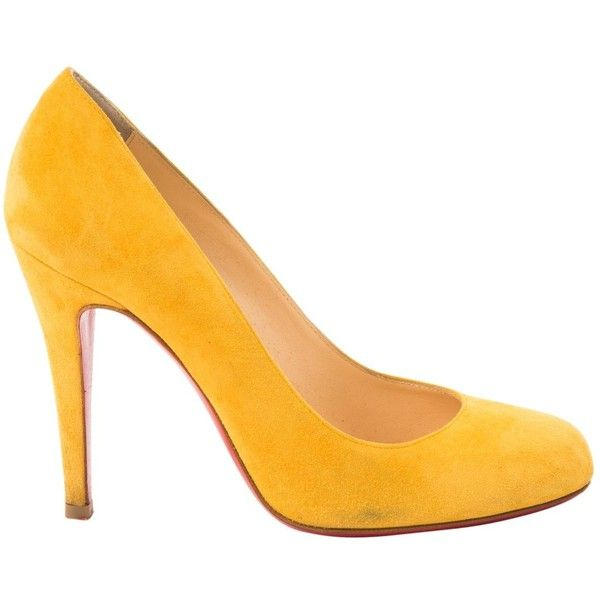 Pre-owned Christian Louboutin Heels ($282) ❤ liked on Polyvore featuring shoes, pumps, women shoes heels, yellow, suede pumps, high heeled footwear, high heel court shoes, yellow suede shoes and almond toe pumps