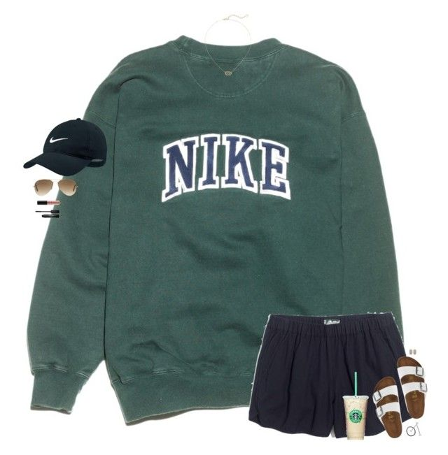 """lazy days"" by maggie-prep ❤ liked on Polyvore featuring NIKE, Madewell, Birkenstock, Ray-Ban, Kendra Scott, NYX, Conair and Stila"