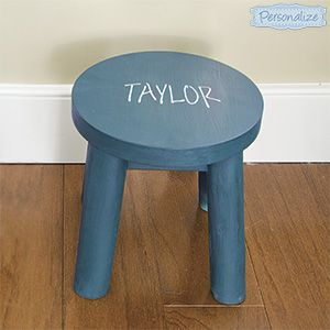 """Product # SM97665 - Kids will love having their own special seat! For play-time, story-time or a brief time out, this super sturdy stool is the perfect size for little behinds. Made of solid wood. Personalization: 1 line, up to 10 characters. 9-1/2""""H x 9""""Diam.  $39.98"""