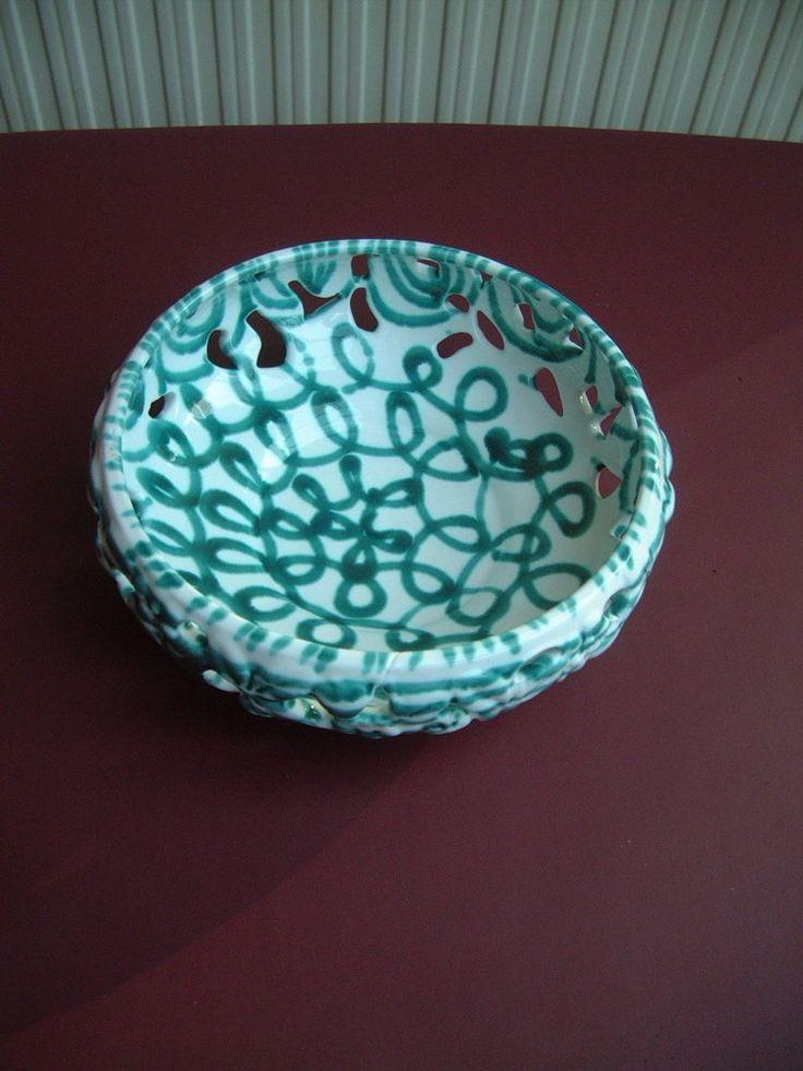 Gmundner Keramik Schale durchbrochen Korbschale grün geflammt Austria