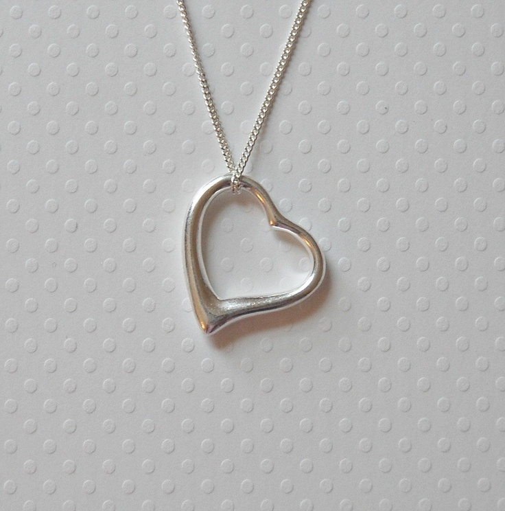 484 best heart necklace images on pinterest heart jewelry heart silver heart necklace large sterling open heart pendant tiffany style gift for her aloadofball Choice Image