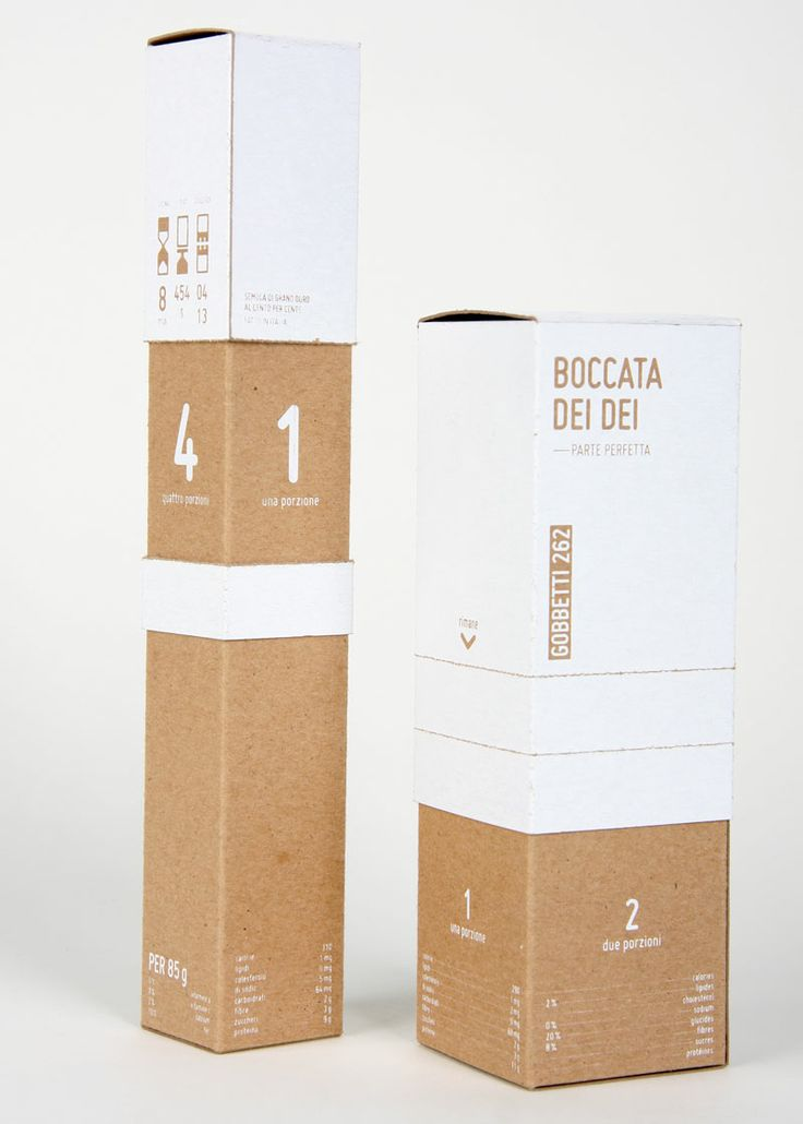 The pretty pasta boxes made from recycled kraft paper do not detract from the elegance of the product