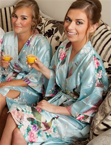 Personalised Floral Satin robe, pretty Powder Blue colour! Perfect for the wedding morning preparations. Available at WowWee.ie