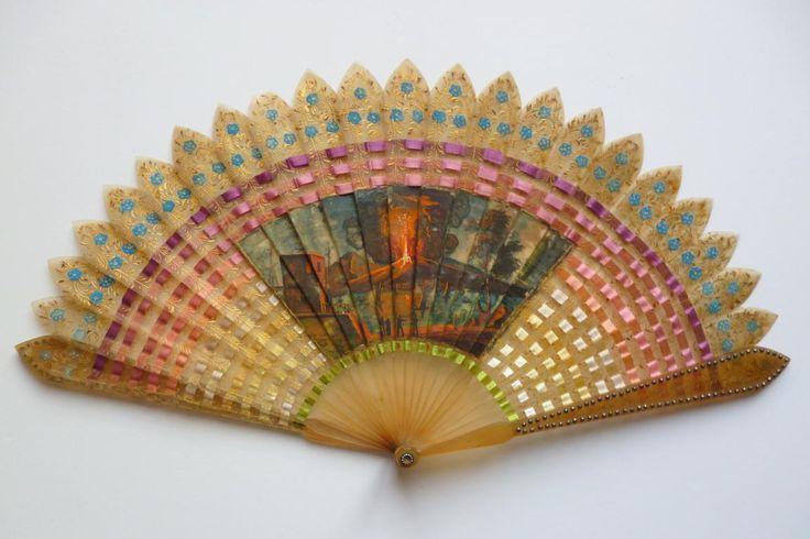 The eruption of... ribbons, fan circa 1825-30 - Catalogue 19th century fans - Fan d'éventails