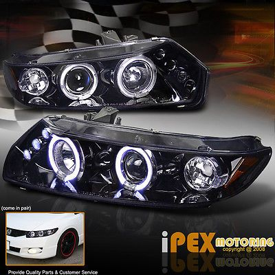 2006-2011 Honda Civic Coupe Fg * Brillante Negro Oscuro * Halo Proyector Led Faros