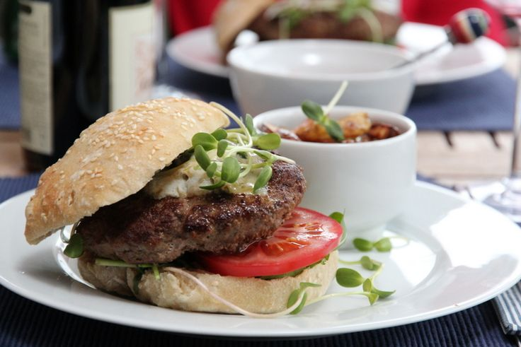 Hamburger med eltefritt hamburgerbrød