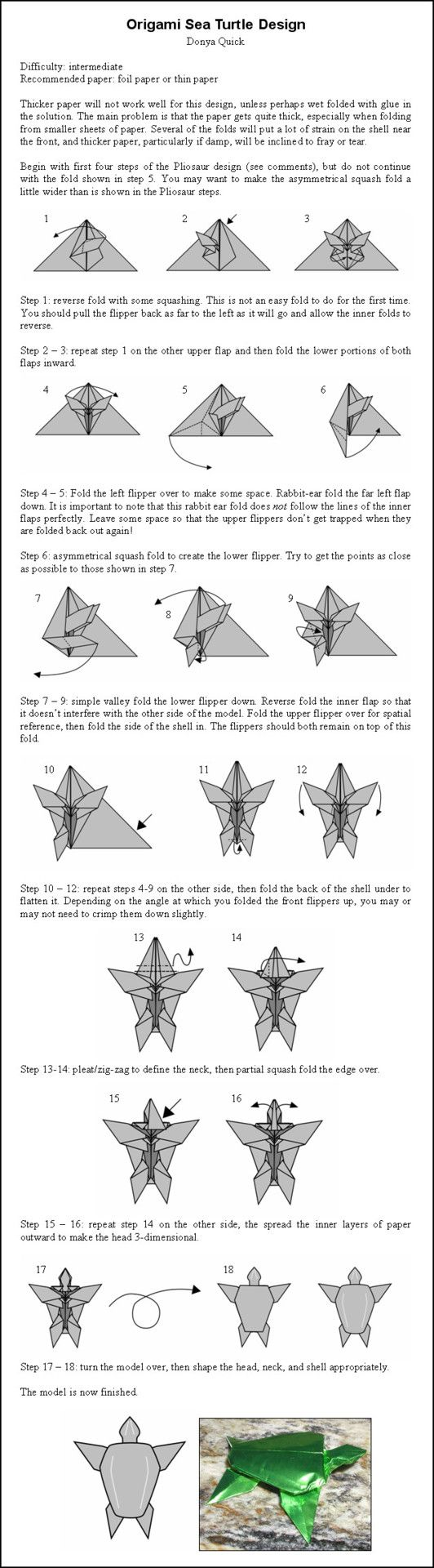 Origami Instructions: Turtle
