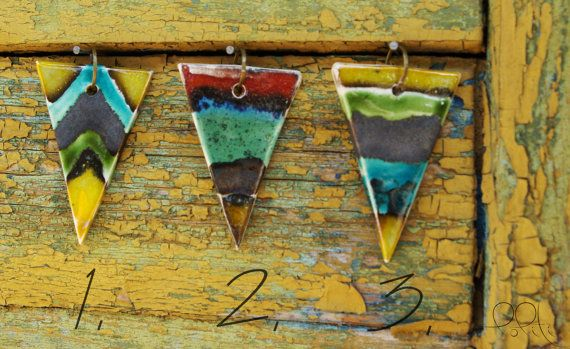 FREE SHIPPING Geometric ceramic triangle pendant with by loliti