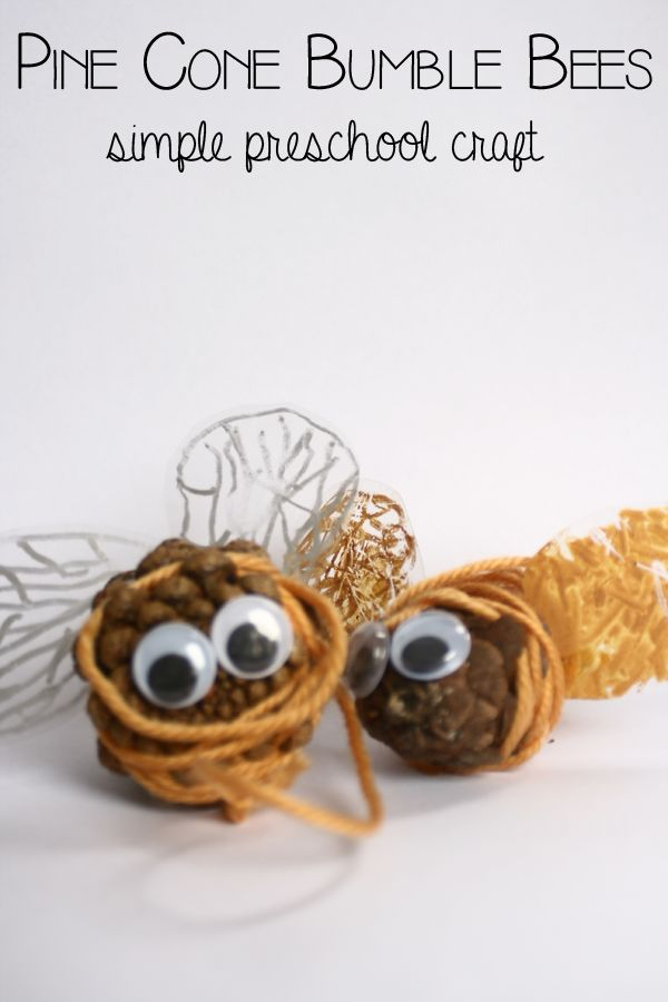 Nature crafting with preschoolers - making pine cone bumble bees