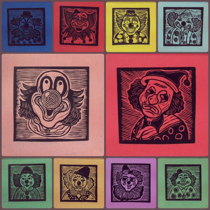 Clown expression. 2014. woodcut on canvas.