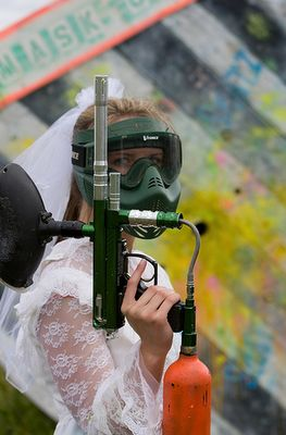 oh this is too funny! find the worst bridesmaid dresses and wear them paintballing for the bachelorette party