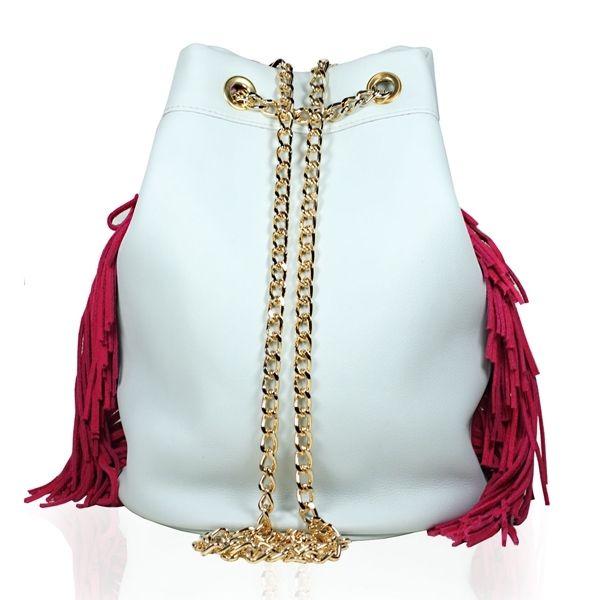 Shoulder Bag Fringe Light Blue and Red by @Stella Rittwagen. 195€ www.dwappo.com