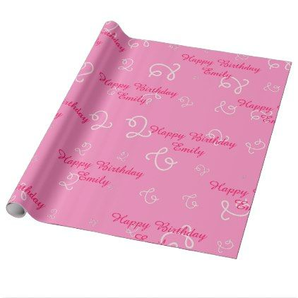 Personalized pink Happy 2nd Birthday Wrapping Paper - baby gifts child new born gift idea diy cyo special unique design