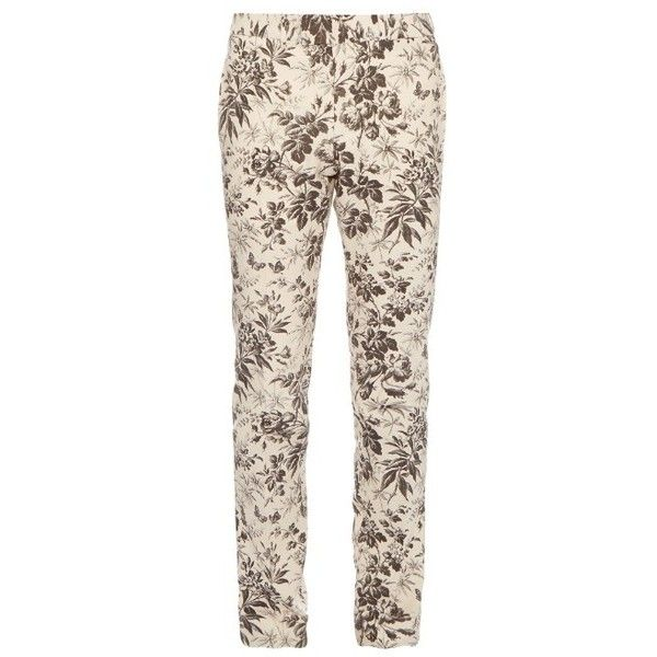 Gucci Herbarium-print cotton-gabardine trousers (€785) ❤ liked on Polyvore featuring men's fashion, men's clothing, men's pants, men's casual pants, cream multi, mens patterned pants, mens relaxed fit pants, mens print pants, mens cotton pants and gucci mens pants