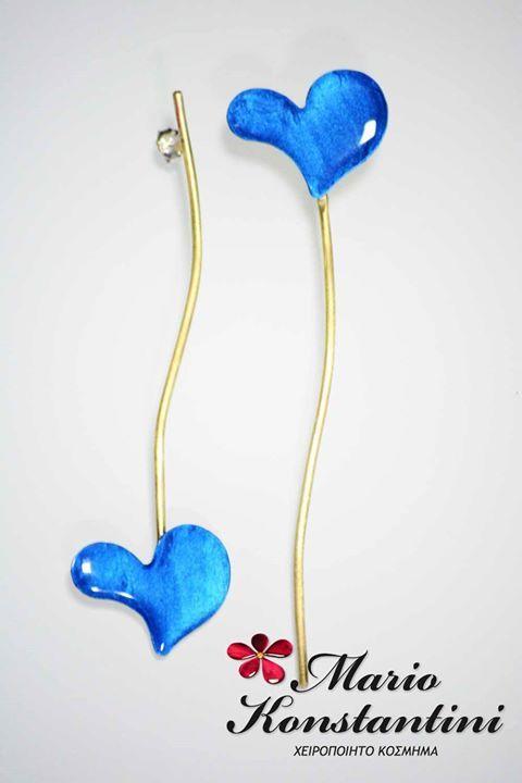 #skoularikia #earrings #hearts #kardies #blue #different #upside  #down