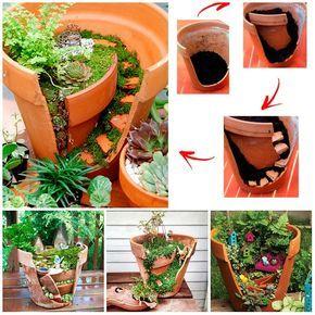 Come riciclare i vasi di coccio rotti e creare una composizione di piante grasse.