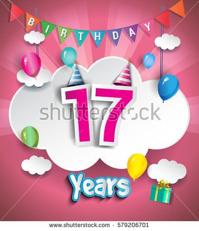 17th Anniversary Celebration Design, with clouds and balloons. using Paper Art Design Style, Vector template elements for your, seventeen years birthday celebration party.