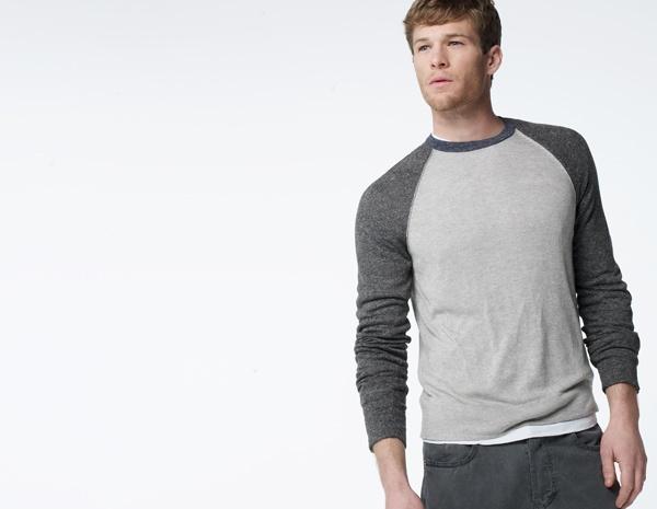 James Perse Linen Blend Raglan Colorblock Sweater
