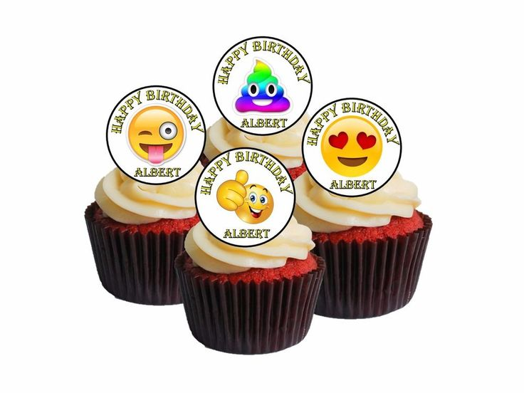 24 Personalised any name EMOJI Edible Cupcake Toppers Fairy Cake #1
