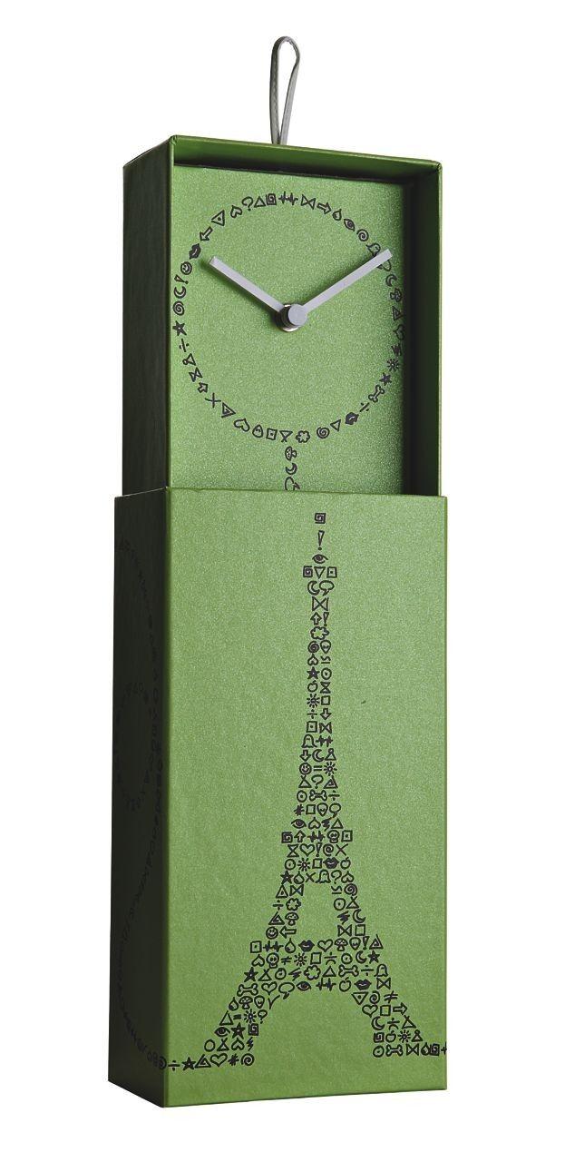 Klok Clock in a Box Paris  Designklok in een originele kartonnen box van Creativando.  Gespot op @Steal the Room