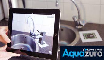 """De kranen van Aquazuro in 3D: omdat het in de winkel vaak lastig voor te stellen is hoe een nieuwe kraan bij jou in de badkamer of keuken zal staan, hebben wij een """"3D app"""" ontwikkeld voor de iPhone en iPad. Met deze app kan je 6 verschillende kranen alvast bekijken in 3D."""