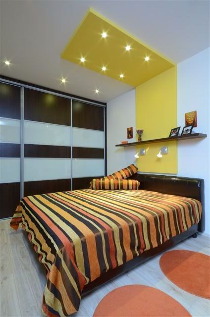 design by Xenia Studio   bedroom yellow, colorful