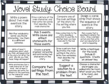 DIFFERENTIATED NOVEL STUDY CHOICE BOARDS (LITERATURE CIRCLES) - TeachersPayTeachers.com