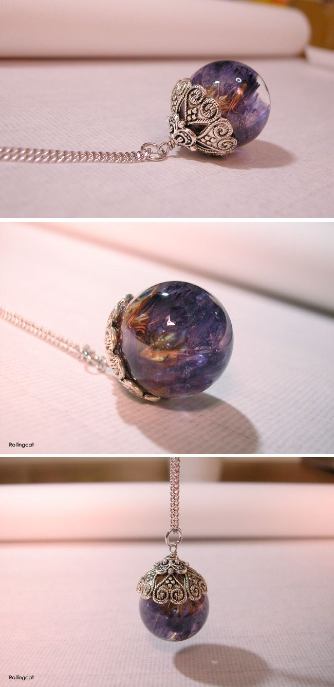 Real dried flower Resin necklaces-Violet Statice
